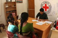 Beneficiaries of the Family Visits Assistance programme in the ICRC's Vavuniya office.