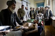 Kandahar, Mirwais Hospital, outpatient department. An elderly man wounded by a bomb blast awaiting treatment.