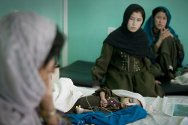 Paediatric unit, Mirwais Hospital, Kandahar. Nafasgol (3), has developed pneumonia from a minor infection left untreated because it was too dangerous to travel to hospital.