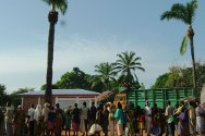 Obo, south-east CAR. People form a line in the late afternoon to receive an ICRC food package.