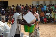 The district of Dioulabougou in Danané. Emergency household items are distributed to displaced families.