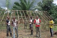 DR Congo. Rebuilding houses destroyed during fighting through ICRC's cash-for-work programme.