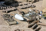 Missan governorate, Iraq. Unexploded ordnance made safe by the ICRC. Haji Jassim's field contained 118 lethal devices like these.