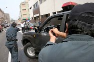 Police training in Lima, Peru. Practical exercises on the use of force and respect of human rights during an arrest.