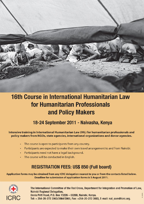 Call for applications: 16th course in IHL for humanitarian