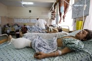 Mirwais hospital, Kandahar. Intensive care unit. Obidella (15) lost his leg when an improvised explosive device exploded while he was picking pomegranates on his family's farm in the Arghendab valley.