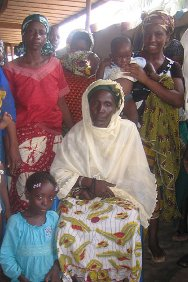 Mariam Sankara with her family at the Anyama mosque in Abidjan.