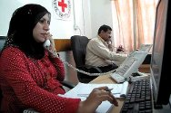 ICRC office, Basra. ICRC staff provide information to the families of people in US custody.