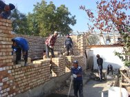 Osh, Kyrgyzstan. Beginning of construction with the participation of the local population.