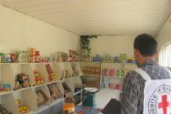 Kyrgyzstan. Ms Choplon's grocer's shop, set up with finance from an ICRC Micro-Economic Initiative.
