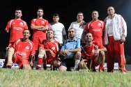 Members of Lebanon's handicapped association (LWAF) soccer team, which played against a scratch international side in Beirut in September 2011