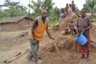 Grand Gedeh County, Liberia. Dominique Doh is building a house for his family and cousins with whom he fled to Liberia.