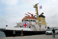 Benghazi, Libya. An ICRC-chartered ship prepares to leave for Misrata.