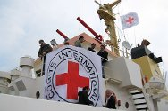 Benghazi, Libya. ICRC delegates prepare emergency supplies for delivery in Misrata.