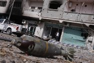 Sirte. An unexploded mortar bomb, one of many that are endangering the people of Libya as they return to their homes.