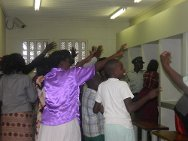 Namibia, Windhoek Central Prison. Women and children wave goodbye to their loved ones.