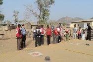 Tawfawa Balewa, Bauchi state, Nigeria. Nigerian Red Cross staff prepare a water storage bladder in an IDP camp.