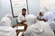A training room at the new Shifa Emergeny Department, Gaza. An ICRC specialist gives a course on emergency trauma room work.