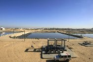 Rafah waste water treatment plant. Bio tower feed pump station and lagoons.