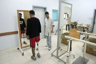 Artificial Limb and Polio Centre, Gaza  A patient does his weekly exercises. Over 2,800 people received treatment at the centre in 2010, and the facility has been extended with the support of the ICRC.
