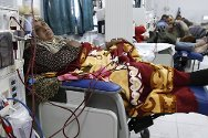 Shifa Hospital, Gaza. Haemodialysis department. This woman has been receiving treatment for the past four years.