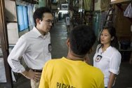 Philippines, Manila, City jail. ICRC delegates talking with an inmate.