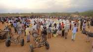 Somalia, Gedo Region, Jungle village. After the distribution, people use donkeys to bring the food assistance home.