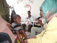 Somalia. A child being treated at one of the therapeutic feeding centres run by the Somali Red Crescent Society.