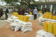 Baidoa, Bay region, Somalia. Staff distribute food to displaced people affected by drought and armed violence.