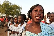 Women sing during a ceremony to mark South Sudan's independence.