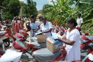 Some of the 45 scooters and 26 motorcycles that the ICRC distributed to health workers and local authorities in the north to make it easier for them to perform their tasks in rural areas.