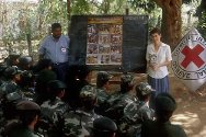 Medawachchiya, Vavuniya. Dissemination session for female soldiers in a Sri Lankan Security Forces camp.