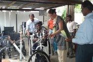 Jaffna Jaipur Centre for Disability Rehabilitation. One of the people who received a wheelchair from the centre.