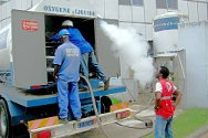 lyclinique Internationale Sainte Anne-Marie (PISAM), Abidjan. A tanker pumps liquid oxygen into the hospital storage tank.