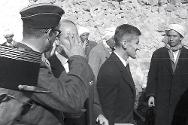 1958. Pierre Gaillard during an ICRC visit to a prison camp in the Oran area.