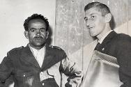 1959. Ksar Tir. Pierre Gaillard with a prisoner that has just been released under the auspices of the ICRC