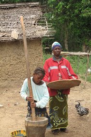 Zorgowee Town, Nimba County, Liberia. Zeyieu's wife, Esther Gaye and her ten-year-old daughter Deborah clean and pound grain.