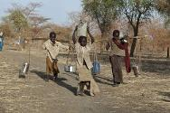Jamam refugee camp, Upper Nile state, South Sudan. Children carrying water using all available means.