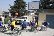 ICRC orthopaedic centre, Kabul. Patients playing basketball.