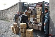 Juvenile Detention Centre, Kabul, Afghanistan. Centre staff and an ICRC delegate unload winter parcels for the inmates.