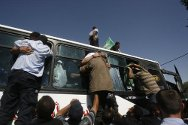 Gaza Strip, Rafah crossing point. Released Palestinian detainees being greeted by their families.