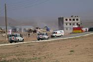 Armavir, Armenia. CSTO rapid deployment force. Training ground of the Armenian Armed Forces.  The ICRC humanitarian convoy approaches the village affected by the military action.