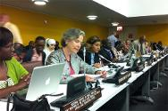Christine Beerli, ICRC vice-president, delivering a speech in New York at the United Nations Diplomatic Conference on the Arms Trade Treaty.