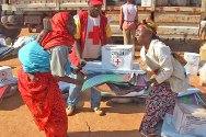Central African Republic. The ICRC and the Central African Red Cross Society distribute essential items to around a thousand families whose homes were destroyed or seriously damaged in clashes between two armed groups in the city of Bria.