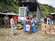 The aid distributions in El Mango were carried out in cooperation with the Cauca branch of the Colombian Red Cross, which dispatched 10 volunteers and one vehicle to assist the efforts.