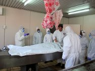 Brazzaville mortuary. An ICRC forensic medical expert training staff to conduct post-mortem examinations of unidentified bodies of victims of the Mpila explosion.