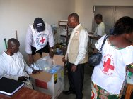 Brazzaville, medicines and supplies donated to primary health-care centres situated near places where displaced people are accommodated.