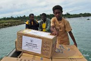 Papua New Guinea. On the island of Bougainville, the ICRC is helping with the rebuilding of the health-care infrastructure, which was destroyed during an internal armed conflict in the 1990s. In this picture, the ICRC, together with the Papua New Guinea Red Cross Society, is delivering medical equipment to Arawa Health Centre.