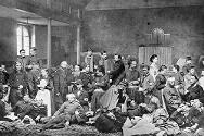 Franco-Prussian War, 1870-1871. Wounded soldiers of General Bourbaki's army receiving care in a church in Lausanne, Switzerland.