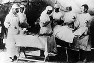 Surgical operation in a health post for Greek refugees from Asia Minor.